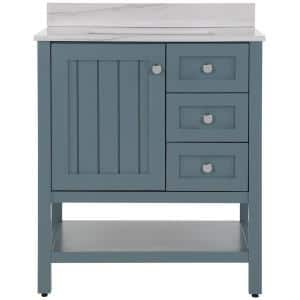 Lanceton 31 in. W x 22 in. D Bath Vanity in Sage with Stone Effects Vanity Top in Gray Stone with White Sink