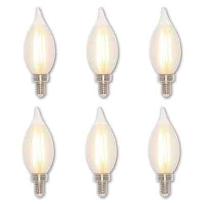60-Watt Equivalent C11 Dimmable Glowescent Edison LED Light Bulb Soft White Light (6-Pack)