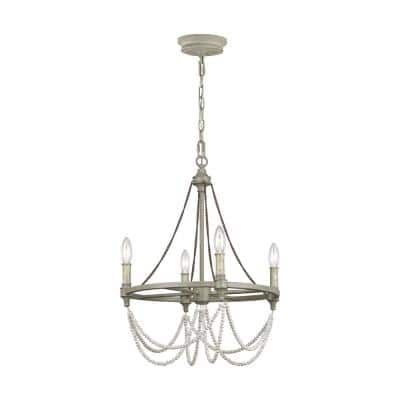 Beverly 4-Light French Washed Oak and Distressed White Wood Beaded Wagon Wheel Farmhouse Candlestick Chandelier