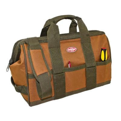 Gatemouth 16 in. Tool Bag in Brown and Green with 16 Pockets