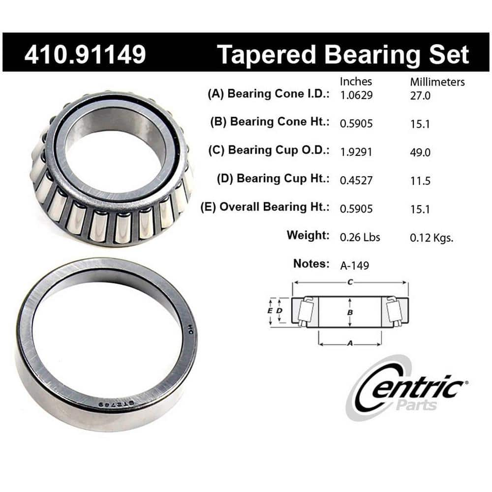 Centric Parts Wheel Bearing And Race Set 410 91149 The Home Depot