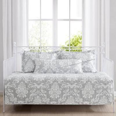 Venetia 4-Piece Light Gray Cotton Bonus Daybed Set