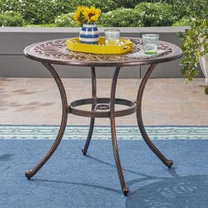 Tucson Shiny Copper Round Cast Aluminum Outdoor Dining Table