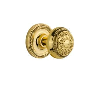 Rope Rosette Double Dummy Egg and Dart Door Knob in Polished Brass