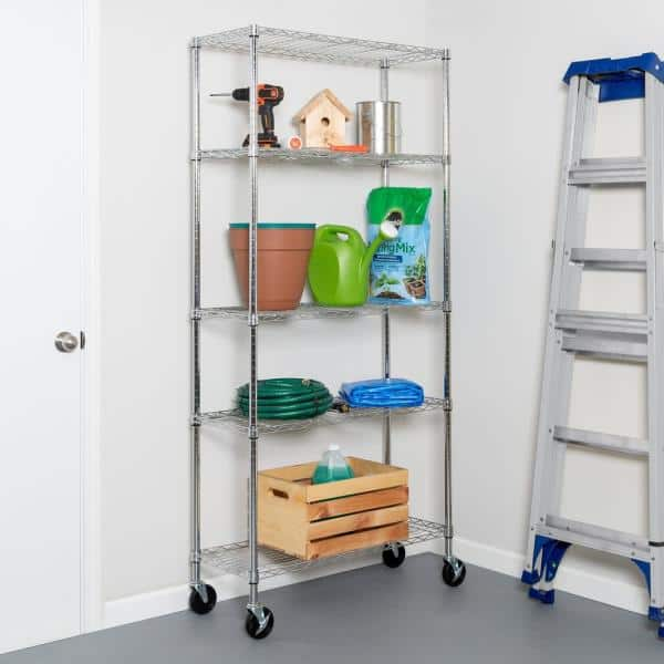 Silver 5 Tier Rolling Metal Garage Storage Shelving Unit 14 In W X 72 In H X 36 In D 0 The Home Depot