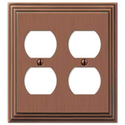 Tiered 2 Gang Duplex Metal Wall Plate - Antique Copper