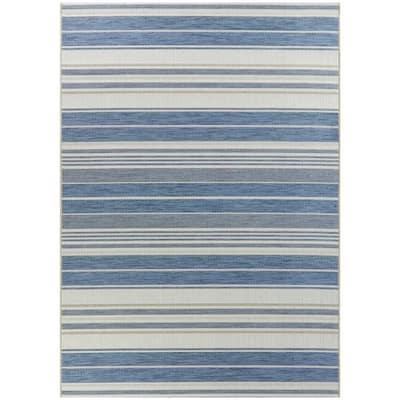 Alexie Blue 8 ft. x 10 ft. Stripe Indoor/Outdoor Area Rug