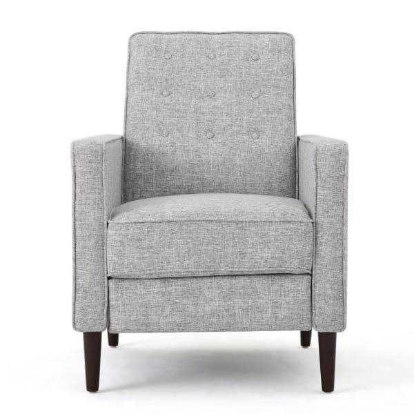 Noble House Mervynn Mid-Century Modern Button Back Light Gray Tweed Fabric Recliners (Set of 2)   The Home Depot