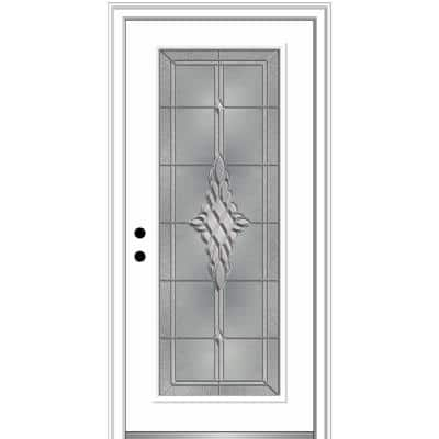 34 in. x 80 in. Grace Right-Hand Inswing Full-Lite Decorative Primed Steel Prehung Front Door on 6-9/16 in. Frame
