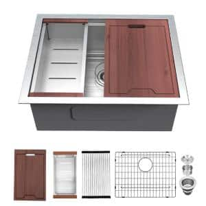 Undermount Stainless Steel 23 in. 16-Gauge Single Bowl Farmhouse Kitchen Sink with Accessories
