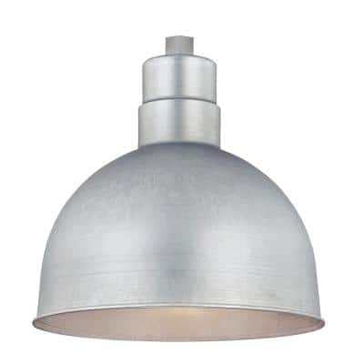 R Series 1-Light 12 in. W Galvanized Outdoor Bowl Shade Pendant