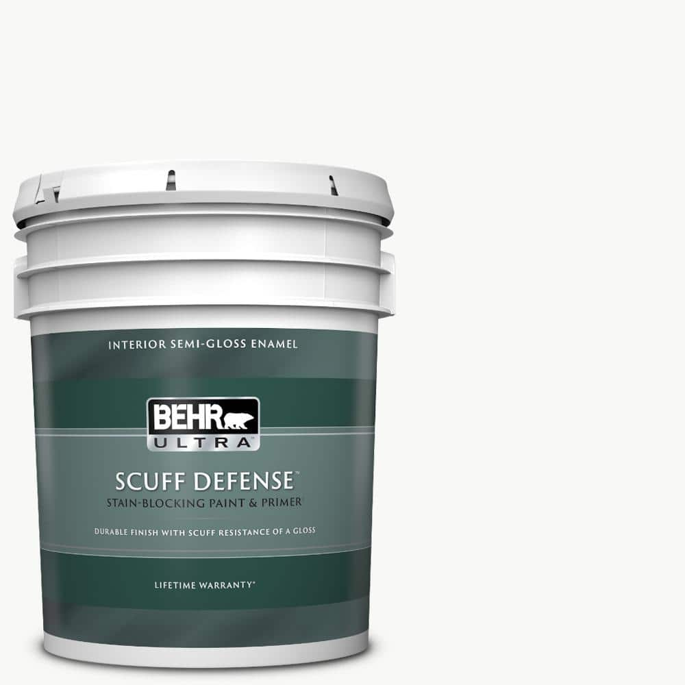 Behr Ultra 5 Gal Pure White Extra Durable Semi Gloss Enamel Interior Paint Primer 375005 The Home Depot