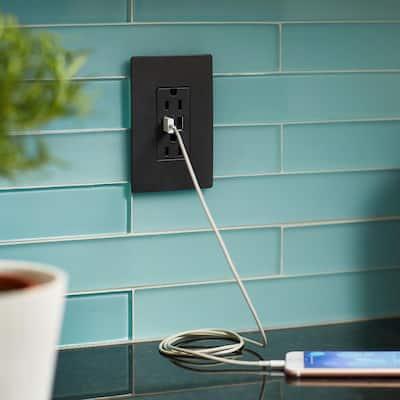 radiant 15 Amp 125 Volt Duplex Outlet with 3.1 Amp USB, Graphite