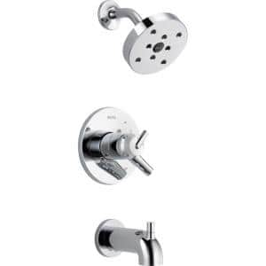 Trinsic 1-Handle Wall Mount Tub and Shower Faucet Trim Kit in Chrome with H2Okinetic (Valve Not Included)