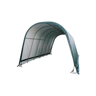 12 ft. W x 24 ft. D x 10 ft. H Equine Round-Style All-Steel Run-in Shelter with 100% Waterproof, 3-Layer Green Cover