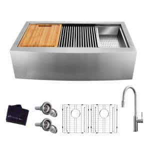 All-in-One Farmhouse Apron-Front Stainless Steel 36 in. 50/50 Double Bowl Workstation Sink with Faucet and Accessories