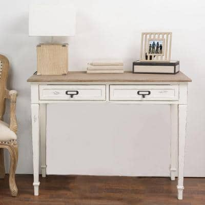 39.5 in. White/Light Brown Rectangular 2 -Drawer Writing Desk with Distressed Finish