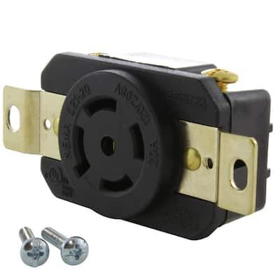 20 Amp 120-Volt/280-Volt Nema L21-20R Flush Mount Locking Industrial Grade Outlet