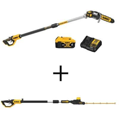8 in. 20-Volt MAX Lithium-Ion Electric Cordless Pole Saw Kit with 20-Volt MAX Cordless Pole Hedge Trimmer (Tool-Only)