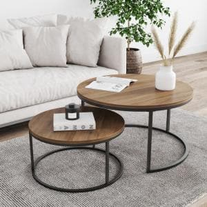 Stella Reclaimed Oak/Black Round Modern Nesting Stacking Accent Industrial Wood Metal Cocktail Coffee Table (Set of 2)