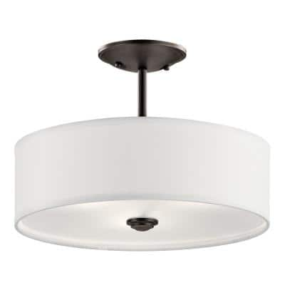 Shailene 14 in. Round 3-Light Olde Bronze Semi-Flush Mount Ceiling Light with White Microfiber Shade