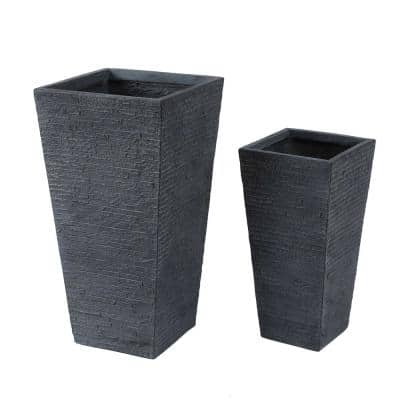 Gray Stone Finish Tall Tapered Square Composite MgO Planter (2-Piece)
