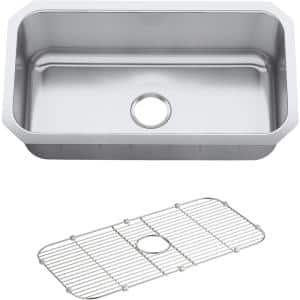 Undertone Preserve Undermount Scratch-Resistant Stainless Steel 31 in. Single Bowl Kitchen Sink with Basin Rack