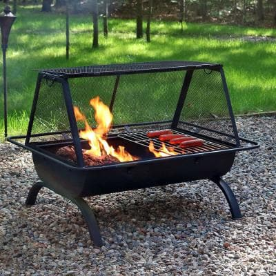 Northland 36 in. x 27 in. Rectangle Steel Wood Burning Fire Pit with Cooking Grill