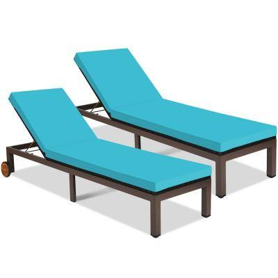 2-Piece Metal Patio Outdoor Lounge Chaise Chair Recliner Back Adjustable Wheels with Turquoise Cushion