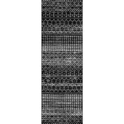 Blythe Modern Moroccan Trellis Black 3 ft. x 12 ft. Runner