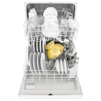 24 in. White Front Control Built-in Tall Tub Dishwasher with 1-Hour Wash Cycle, 55 dBA