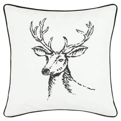 Winter Morning Stag White 1-Piece 20X20 Cotton Throw Pillow