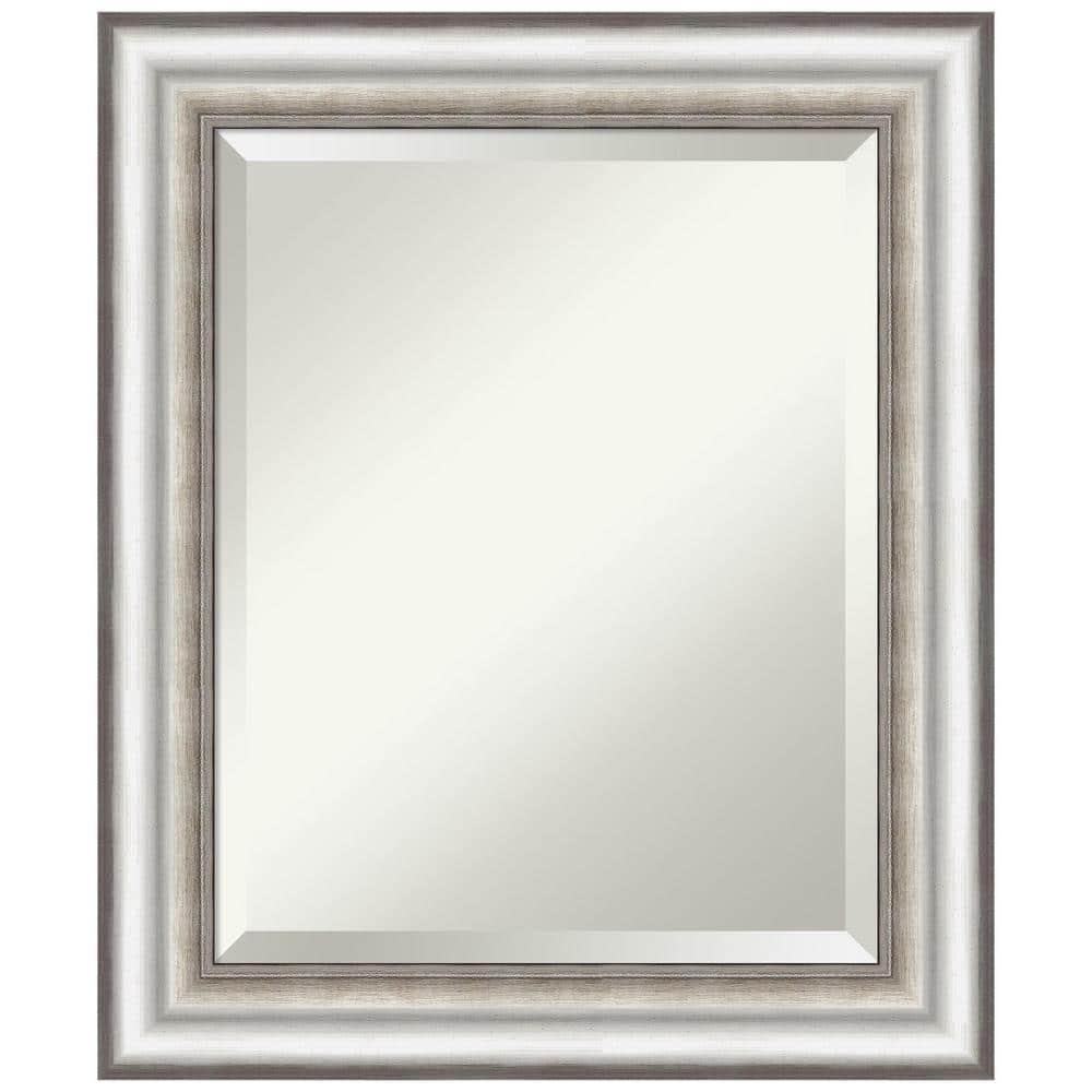 Amanti Art Medium Rectangle Salon Silver Beveled Glass Modern Mirror 25 In H X 21 In W Dsw4960762 The Home Depot