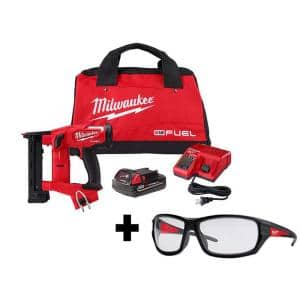 M18 FUEL 1/4 in. 18-Volt 18-Gauge Lithium-Ion Brushless Narrow Crown Stapler Kit and Clear Performance Safety Glasses