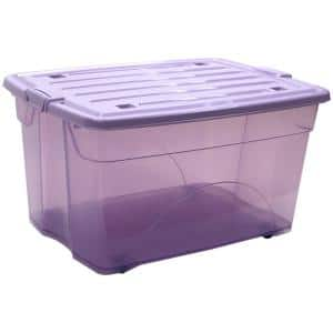 Taurus 16 Gal. Rolling Storage Tote with Snap on Lid in Lavendar