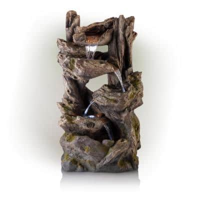 39 in. Tall Outdoor 4-Tier Rainforest Waterfall Fountain with LED Lights