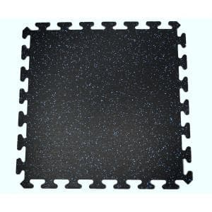Black with Blue Speck 24 in. by 24 in. Interlocking Recycled Rubber Floor Tile (24 sq. ft.)