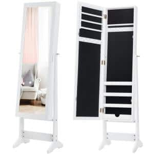 Vanity Mirror Tilting Jewelry Cabinet Organizer Storage Box White