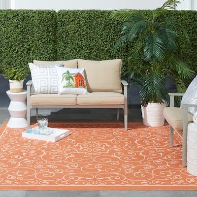 Home and Garden Pavilion Orange 5 ft. x 8 ft. Floral Transitional Indoor/Outdoor Area Rug