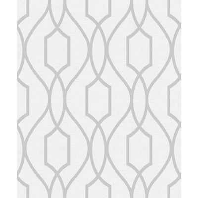 Evelyn Silver Trellis Taupe Wallpaper Sample