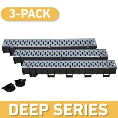 Deep Series 5.4 in. W x 5.4 in. D x 39.4 in. L Trench and Channel Drain Kit w/ Stainless Steel Grate (3-Pack : 9.8 ft)