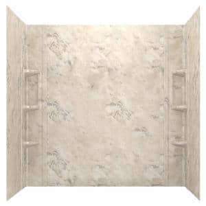 Ovation 32 in. x 60 in. x 59 in. 5-Piece Glue-Up Alcove Bath Wall Set in Celestial Marble