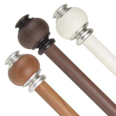 1 inch Adjustable Single Faux Wood Curtain Rod 48-84 inch in Chestnut with Marble Finials