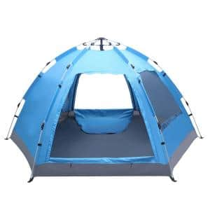 Pop-up 4-Person Camping Tent with Double Door & Double Window