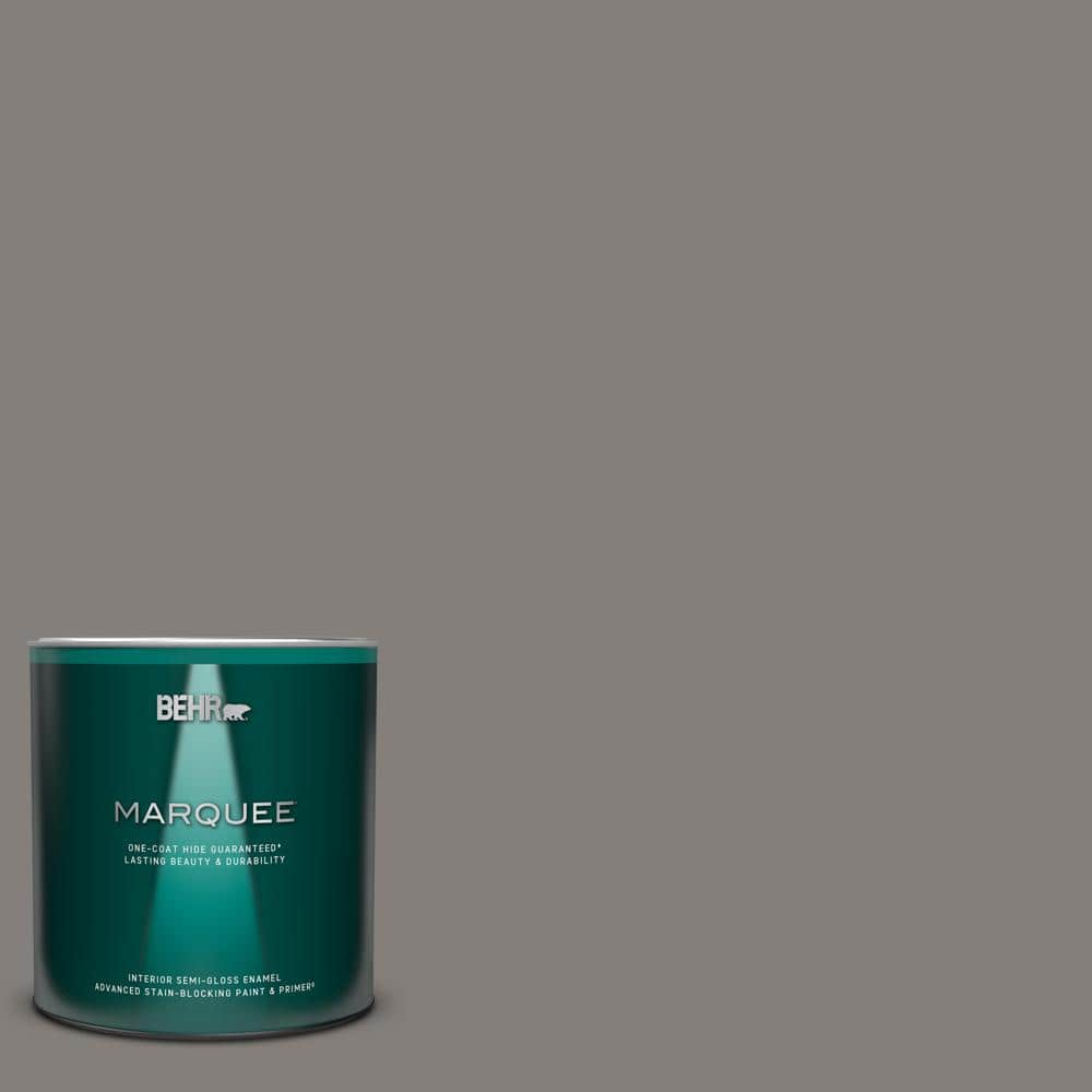 Behr Marquee 1 Qt Ppu18 17 Suede Gray Semi Gloss Enamel Interior Paint Primer 345304 The Home Depot