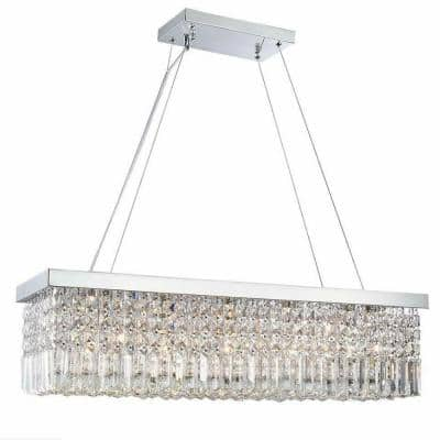 5-Light Rectangle Chrome Chandelier with K9 Crystals