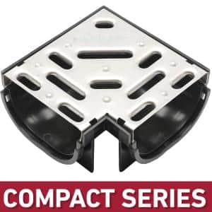 Compact Series 90 Corner for 3.2 in. D Trench and Channel Drain Systems w/ Stainless Steel Grate