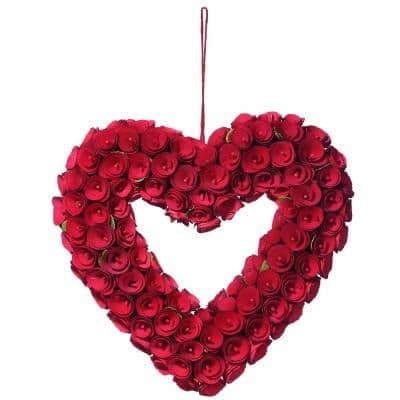 16 in. Dia Wood Curl Roses Valentine Heart