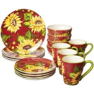Sunset Sunflower 16-Piece Traditional Multi-color Ceramic Dinnerware Set (Service for 4)