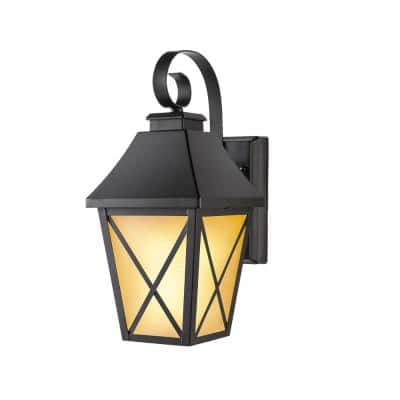 1-Light Midnight Black Integrated LED Outdoor Flicker Flame Selectable Color Lantern Sconce Wall Light